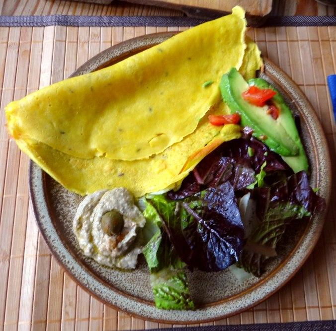 Kichererbsenmehl Pfannkuchen und Baba Ganoush (2)
