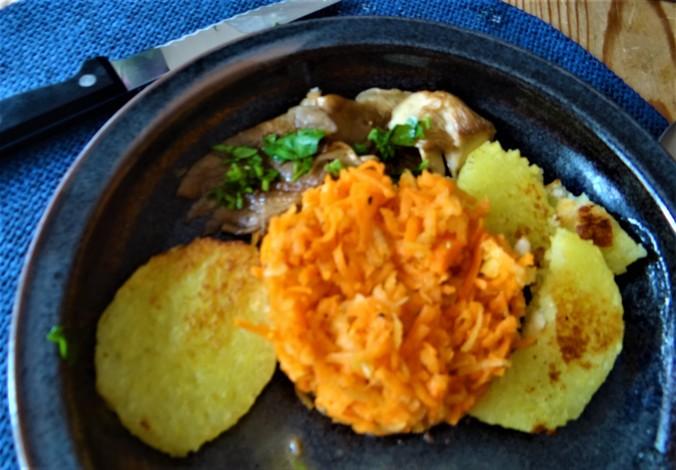 Kloßscheiben,Austernpilze,Möhrensalat (3)