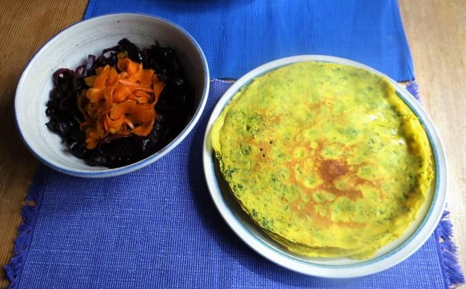 Kichererbsenmehl Pfannkuchen,Ingwer Möhren (17)