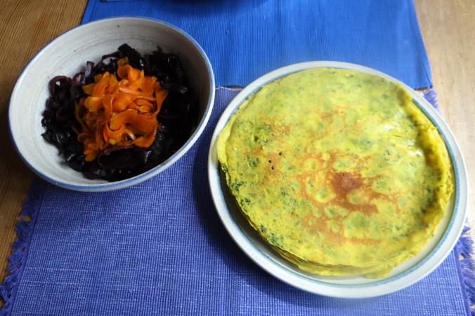 Kichererbsenmehl Pfannkuchen,Ingwer Möhren (4)